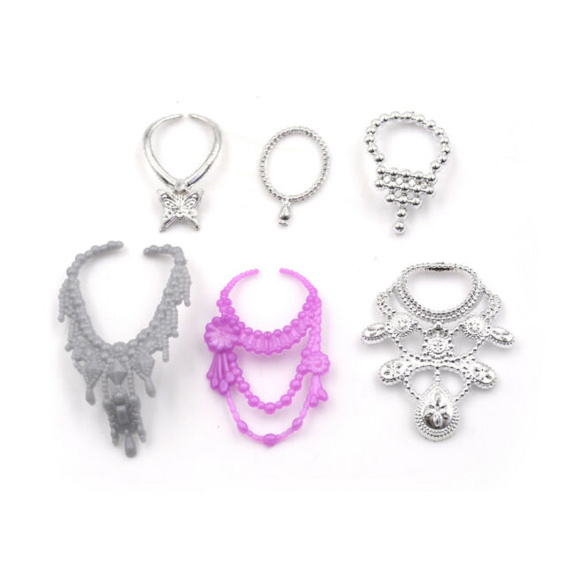 6Pcs/Set Fashion Plastic Chain Necklace For Barbie Doll Party Accessories E PM