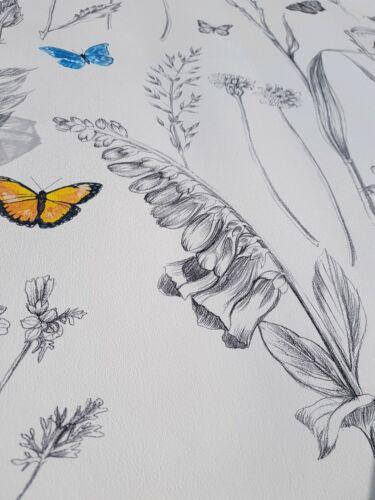 Struktur Tapete Schmetterlinge Blumen Schwarz Weiss Gelb Blau Rot