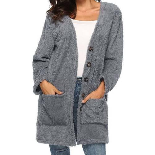 Damen Kunstpelz Fleecejacke Strickjacken Wintermantel Mantel Jacke Parka Outwear