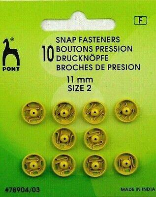 10 Druckknöpfe zum Annähen 11 mm Grün von  Pony 78904//04