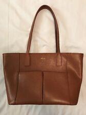 Lauren Ralph Lauren Camel Brown Leather Tote Bag Handbag Purse
