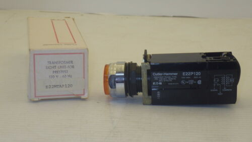 CUTLER HAMMER E22MTAP120 AMBER ILLUMINATED EXTENDED PUSH BUTTON SWITCH NIB