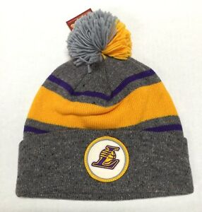 MITCHELL   NESS LOS ANGELES LAKERS Speckled Cuffed BEANIE   POM GREY ... f062d626e4e