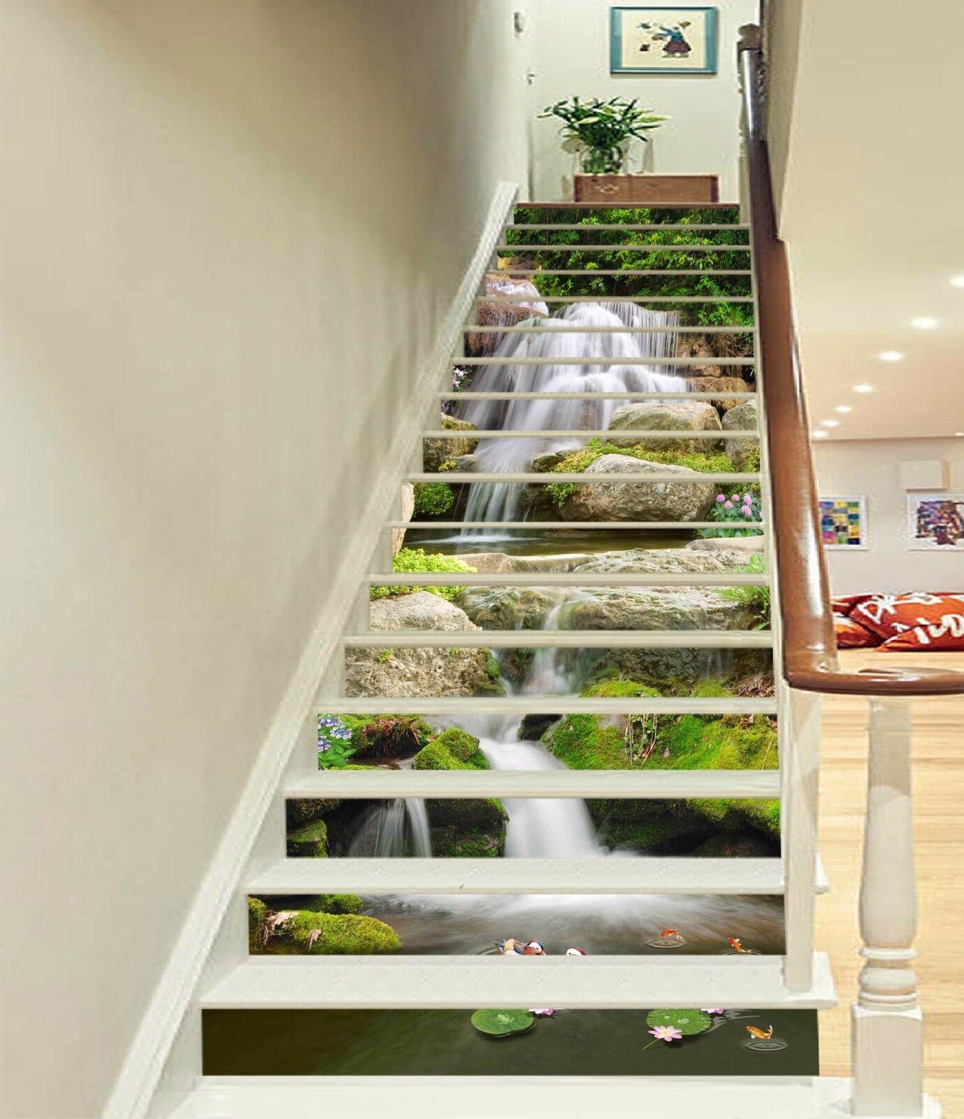 3D Stony Creek 026 Stair Risers Decoration Photo Mural Vinyl Decal Wallpaper AU