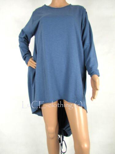 NEW Ladies Italian Soft Cotton Lagenlook Fishtail Lace Tie Tunic DRESS TOP