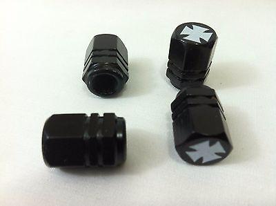 Dodge,Ford,Chevrolet Maltese Iron Cross Black Valve Stem Caps Covers