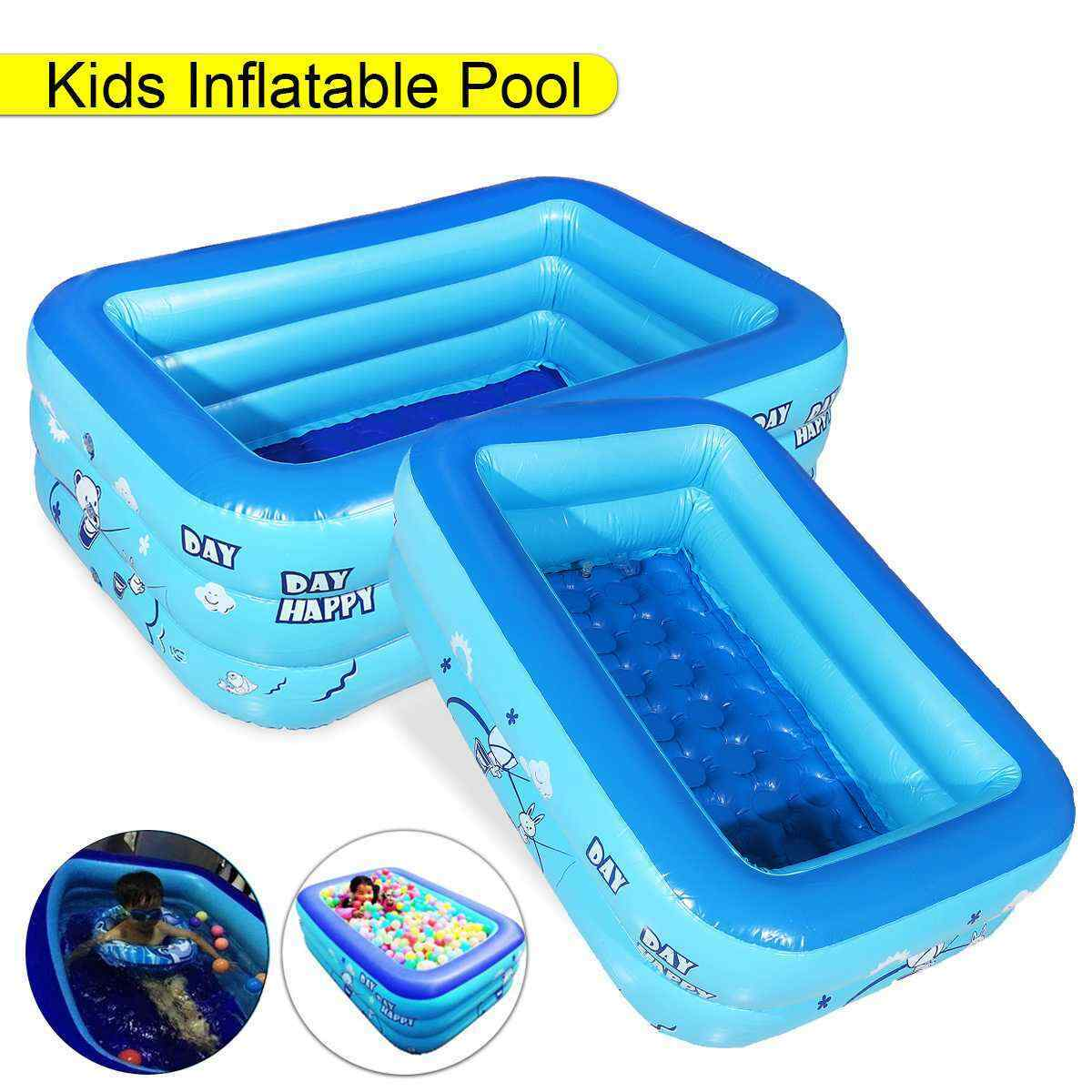 120cm 2/3layers Inflatable Square Swimming Pool Kids Bathing Tub Home Outdoor