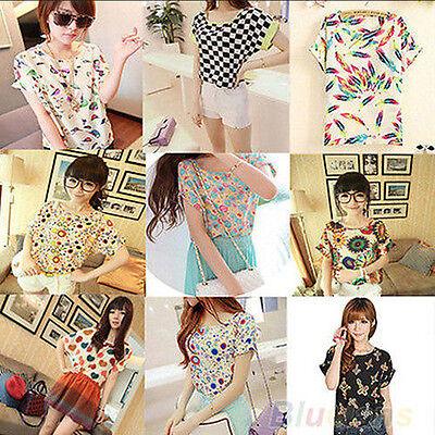 Korean Womens Cute Short Sleeve Heart Printed Chiffon T-shirt Tops Blouse