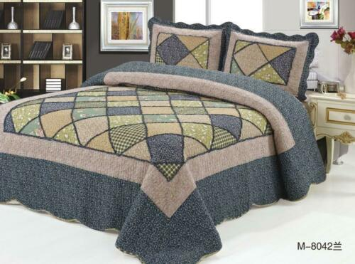 3 Piece Quilted Patchwork Bedspread Throw Comforter Set /& 2 Pillow Shams Double