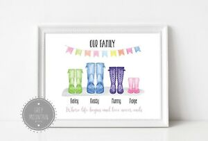 Personalised-Wellie-print-Our-family-where-life-begins-and-love-never-ends-A4