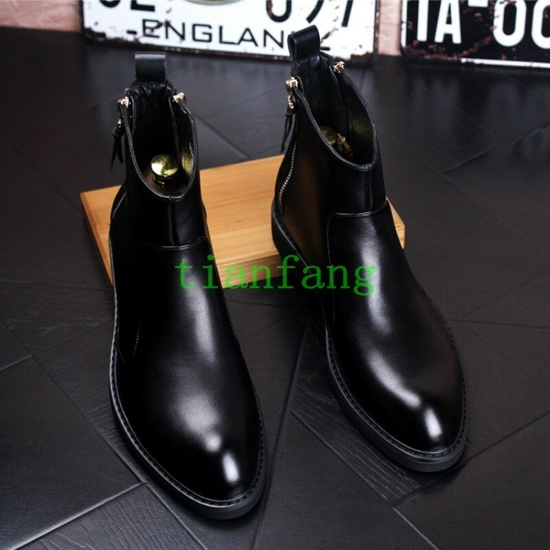 Para Hombre Botín Negro informal cremalleras Oxfords informal Negro Zapatos Imitación de cuero con estilo británico 9ad156