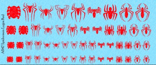 Spiderman logos Opaque Red Waterslide Decals 1//12 or 1//18 Scale Decals