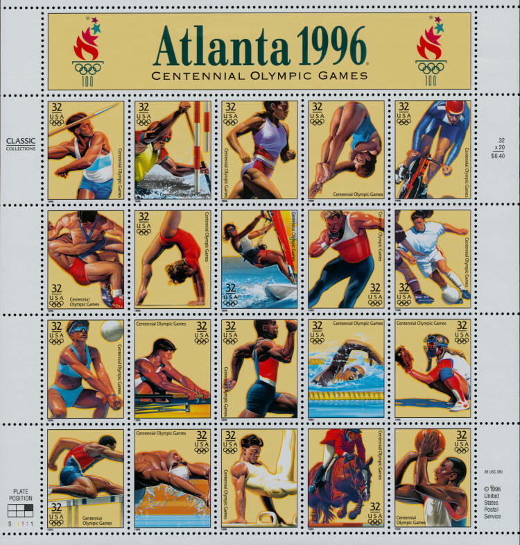 1996 32c Atlanta, GA Olympic Games XXVI, Sheet of 20 Sc