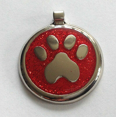 Pet ID Dog Tag  30mm Quality Large Reflective Glitter Paw Design.FREE ENGRAVING