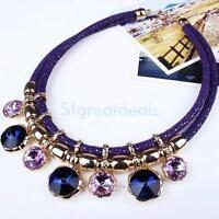 Fashion Rhinestone Crystal Bib Statement Charm Choker Necklace Jewelry Lady