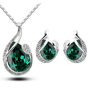 Crystal Emerald Green Angel Wings Jewellery Set Studs Earrings /& Necklace S760