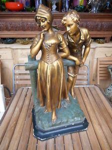 IMPOSANTE-STATUETTE-034-DECLARATION-034-DEBUT-1900-EN-PLATRE-style-bronze