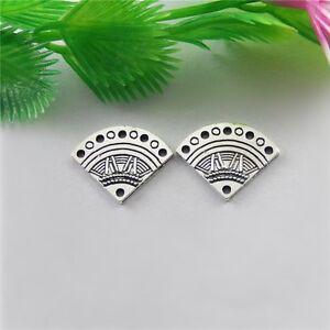 40pcs-Antique-Silver-Alloy-Fan-Shape-Pendants-Jewellery-Findings-51557