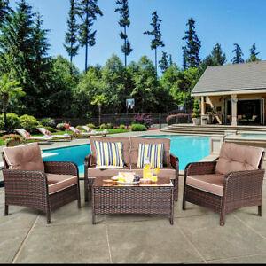 4 PCS Outdoor Patio Rattan Wicker Furniture Set Sofa Loveseat W/ Cushions NEW