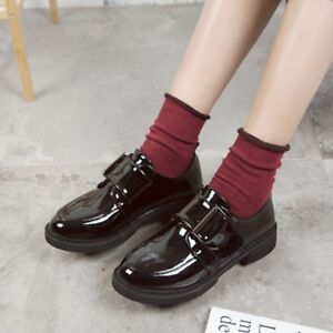 Ladies-Flats-Low-Heels-Buckle-Oxford-Patent-leather-Creepers-Shoes-Size-7