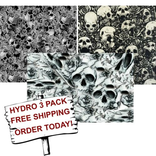 HYDROGRAPHIC FILM WATER TRANSFER PRINTING FILM HYDRO DIP FLOWER SKULLS 3 PACK