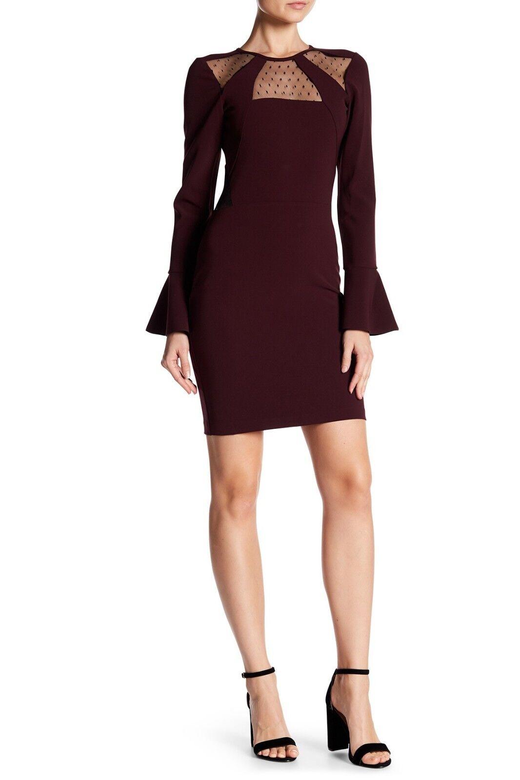 Parker Swissdot Mesh Insert Bell Sleeve Sz M Dress New