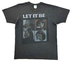 Vintage-The-Beatles-Let-It-Be-Retro-Tee-Dark-Grey-Size-L-Mens-T-Shirt-2005