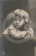 1909 RPPC of GIRL IN CURLS w KITTEN (#1) Postcard REAL PHOTO Photograph CAT