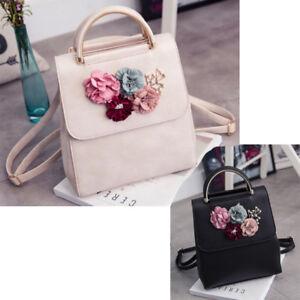 Pu-leder Frauen Rucksack Weiblichen Stil Trend Dreidimensionale Blume Umhae W0R2