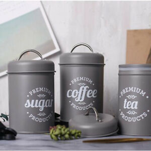 Details about Set of 3 Tea Coffee Sugar Canisters Kitchen Storage Pots Jars  Metal Jar Grey