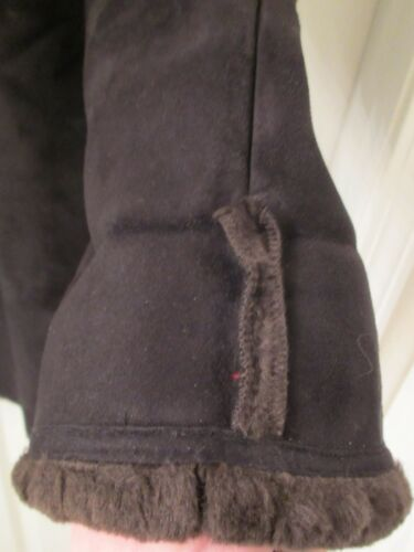 Brown Faux Suede with Sherpa Lining Hooded JONES NEW YORK Women/'s Jacket S