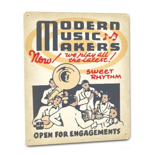Modern Music Makers Sign Musician Band Tuba Clarinet Banjo Drums Wall Decor Art