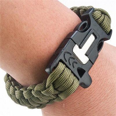 Survival Bracelet Outdoor Paracord Flint Fire Starter Scraper Whistle Gear Kits