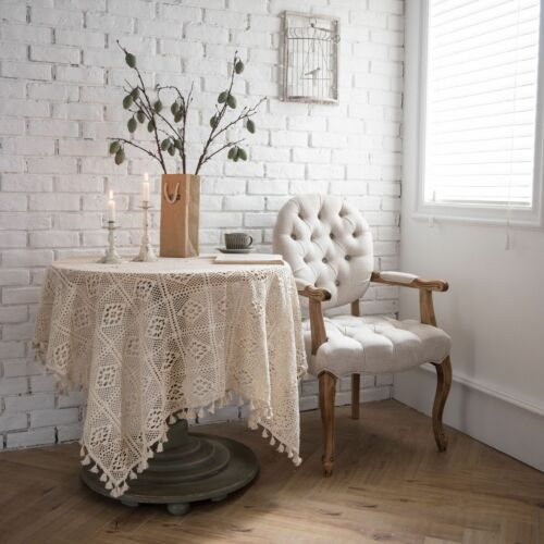 American Country Lace Tassel Crochet creux Nappe Table Cover Rectangle