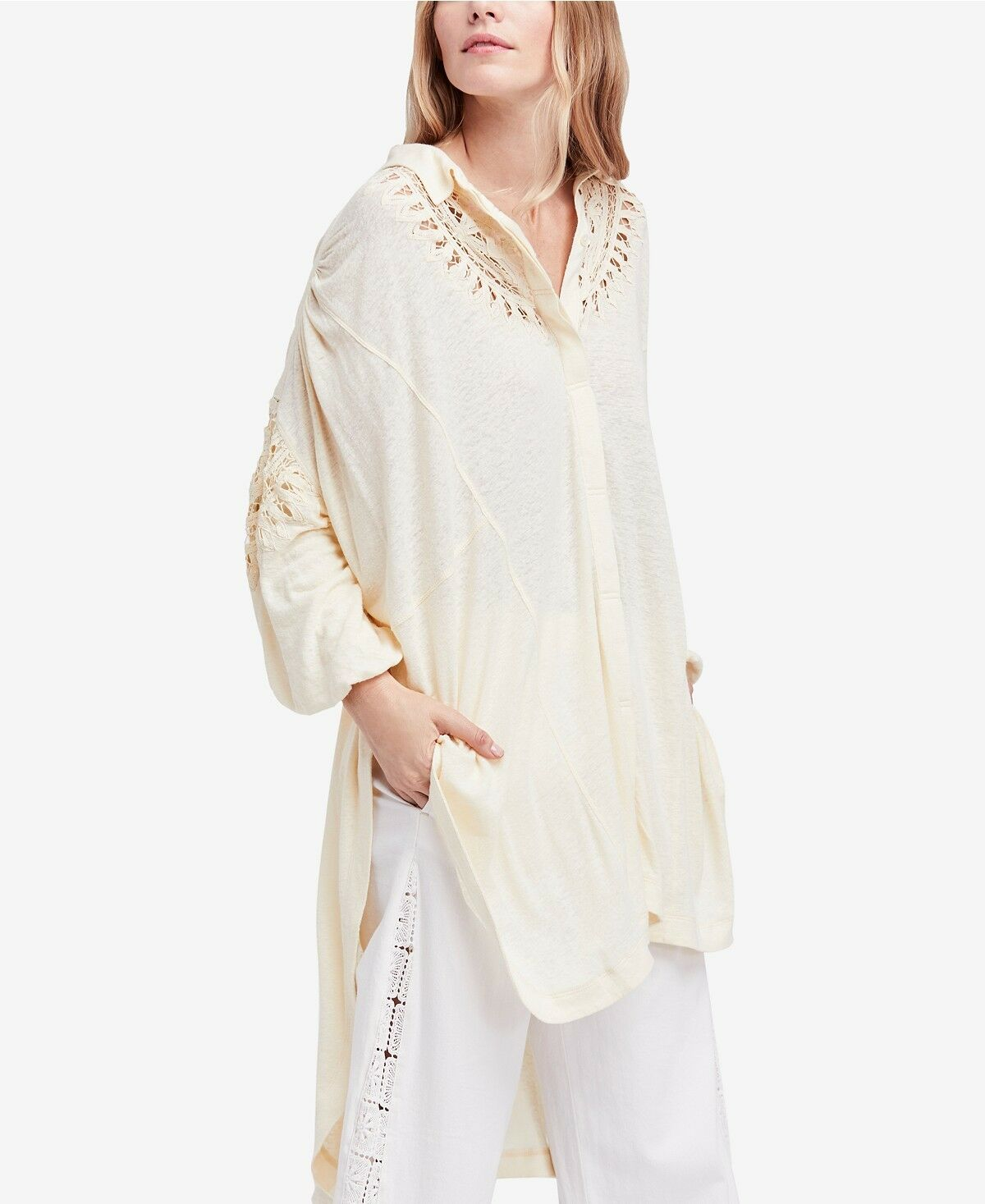 NWT Free people Memory Lane Crochet-Inset Shirt Retail