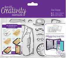 Docrafts Papermania MISTER for men man A6 stamp set 11 pc+ storage folder pocket