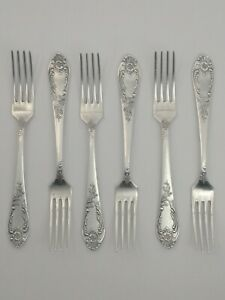 Vintage-SILVER-PLATED-SET-6-table-Forks-Melchior-cupronickel-SOVIET-USSR