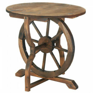 Image Is Loading Rustic Country Wagon Wheel Base Table Fir Wood