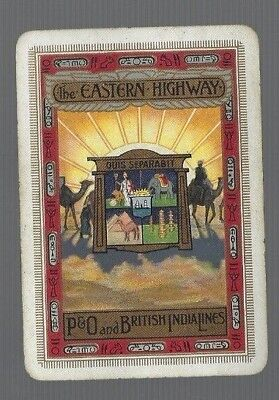 "Swap Playing Cards  1  VINT  WIDE   P/&O  LINE /"" THE EASTERN HIGHWAY /"" ADVT   S56"