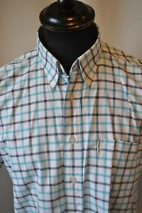 Vintage-Ben-Sherman-blue-check-short-sleeve-shirt-size-medium-classic