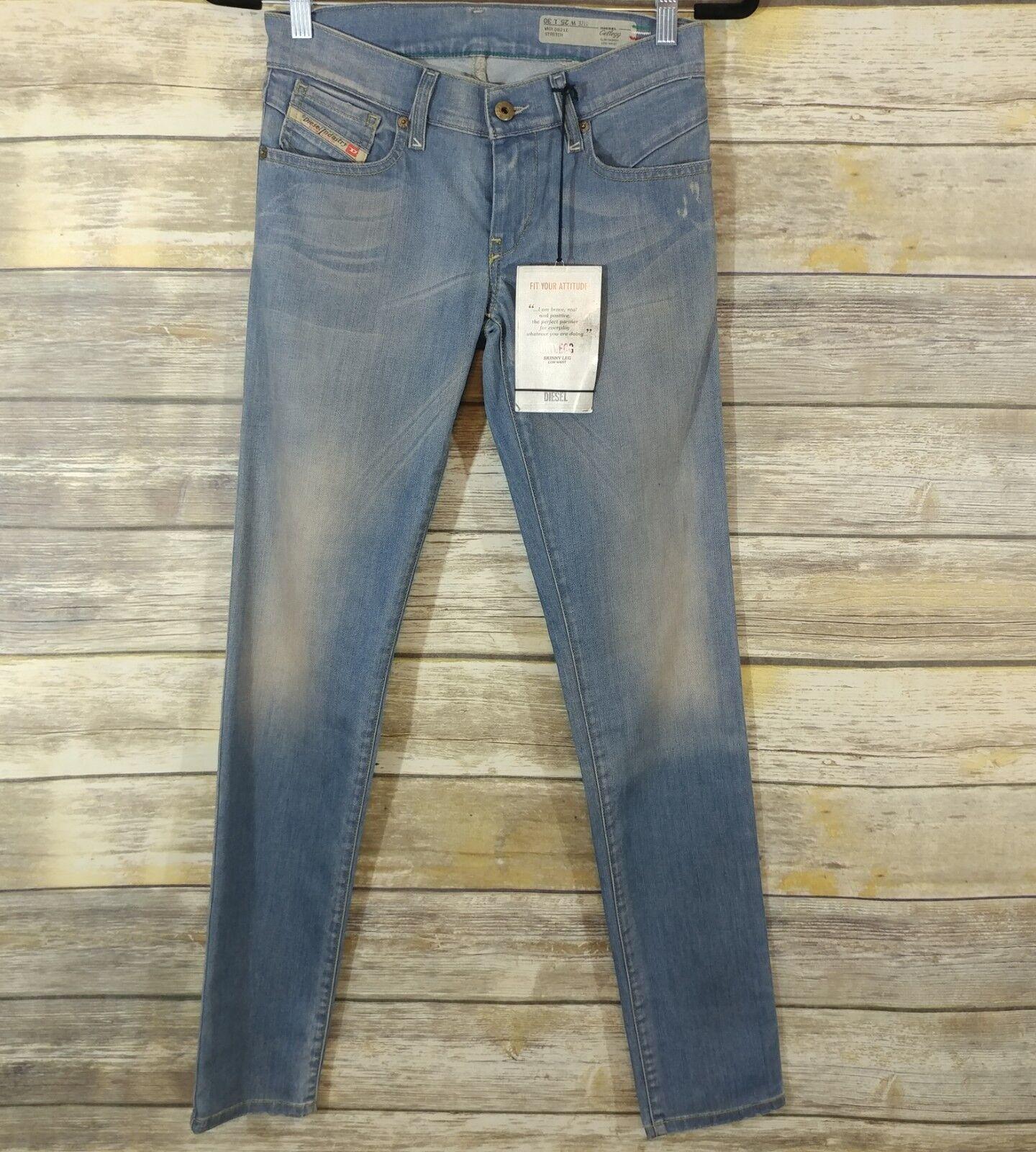 298 NEW Diesel Jeans Getlegg W25xL30 Slim Skinny 0821E Low Waist ITALY
