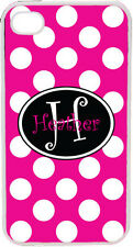 Solid Fuschia Polka Dot Pattern iPhone 4 4S Custom Curlz Monogrammed Case Cover
