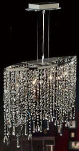 Crystal-Pendant-Ceiling-Light-Chrome-Lighting-Chandelier-NEW