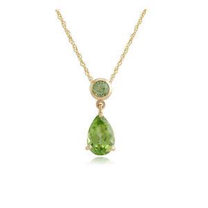 Gemondo-9ct-Oro-Amarillo-Peridoto-2-Piedra-45cm-Collar