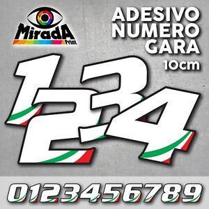 Adesivo NUMERO 7 GARA 12 cm BANDIERA ITALIANA gara cross pista auto moto stickers
