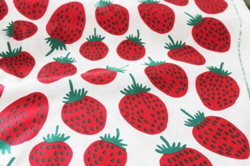 Marimekko cotton fabric red//white//green Pieni Mansikka 145x50cm by Maija Isola