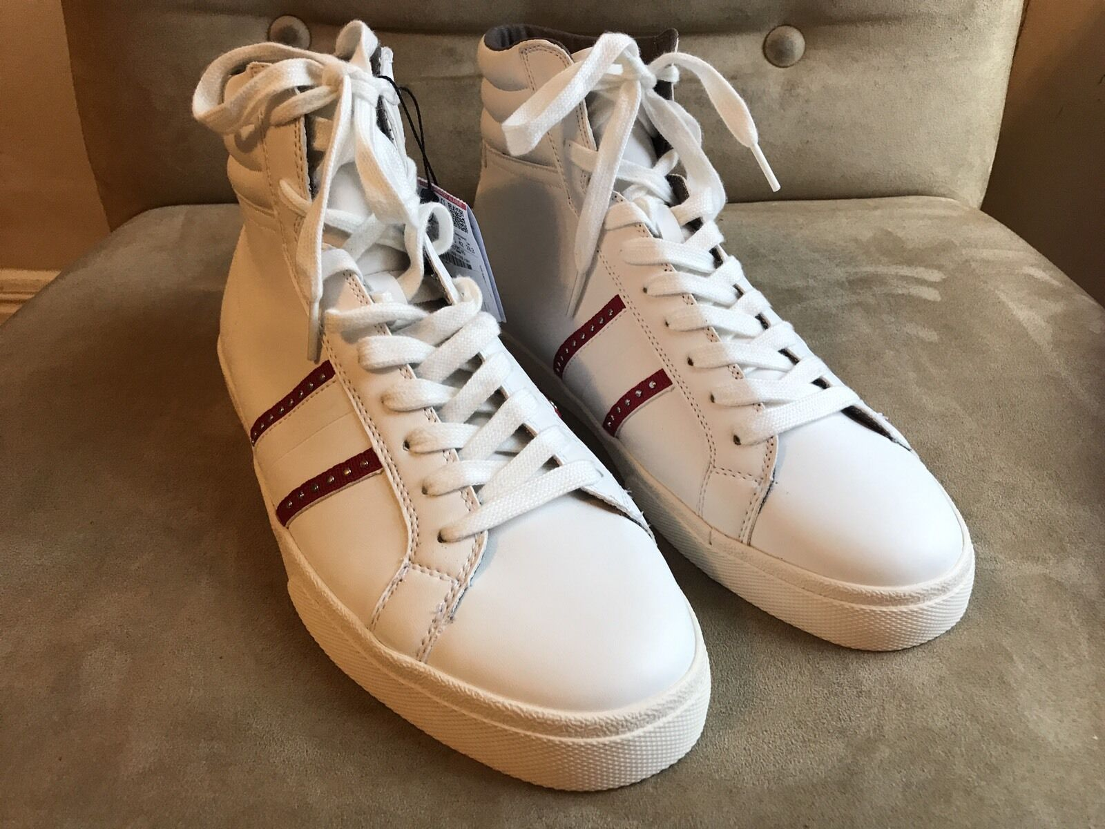 ZARA MAN WHITE UP RED STUDDED STRIPES LACE UP WHITE HIGH TOP SNEAKERS SHOES 11 44 10 28.5 c6fab0