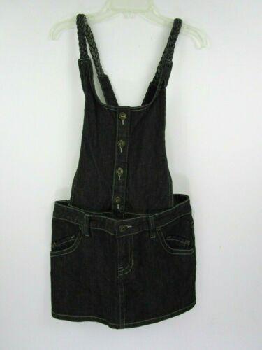 Forever Twenty One Black Denim Overall Mini Dress