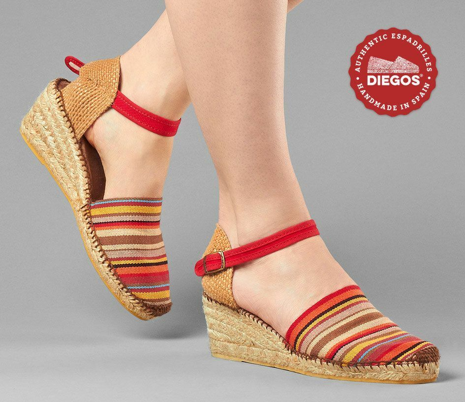 Diegos® Authentic red stripes stripes stripes Carmen high wedge espadrilles hand made in Spain 709224