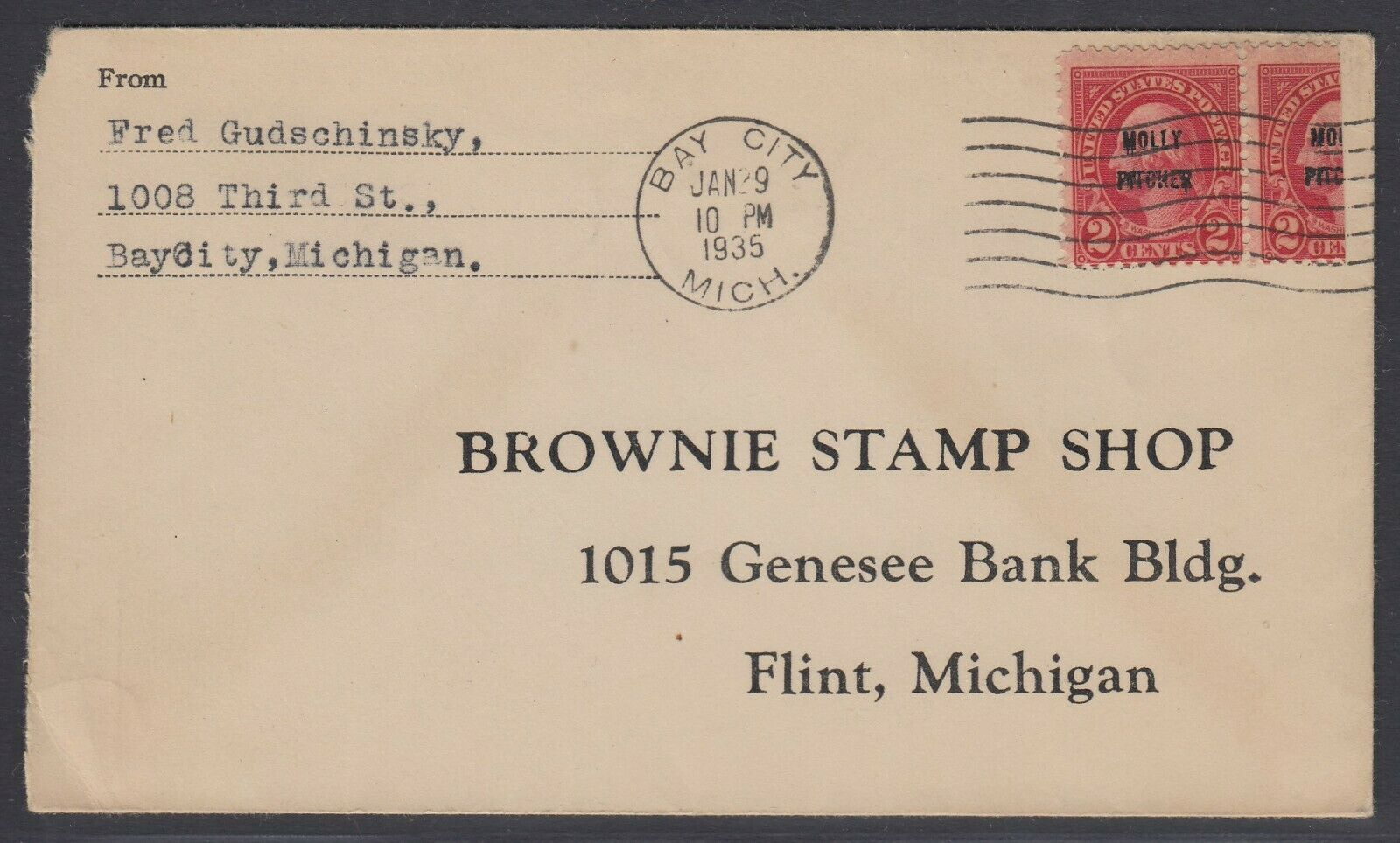US Sc 646 - 1935 Vertical BISECT on cover from Bay City Mich to Flint Mich